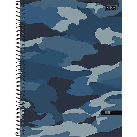 Caderno Universitário Tilibra Hide Camuflado Azul 1 Materia