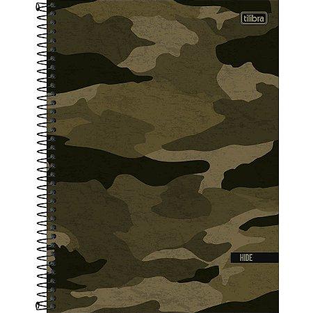 Caderno Universitário Tilibra Hide Camuflado Verde 1 Materia