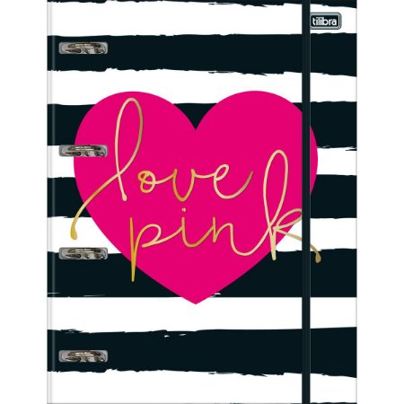 Caderno Argolado Fichario Universitário Tilibra Love Pink