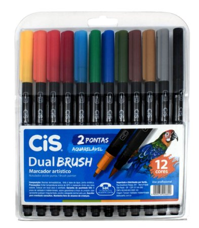 Estojo Canetas CIS Dual Brush 12 cores