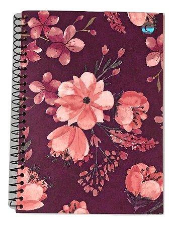 Caderno Colegial Cicero Floral Vinho