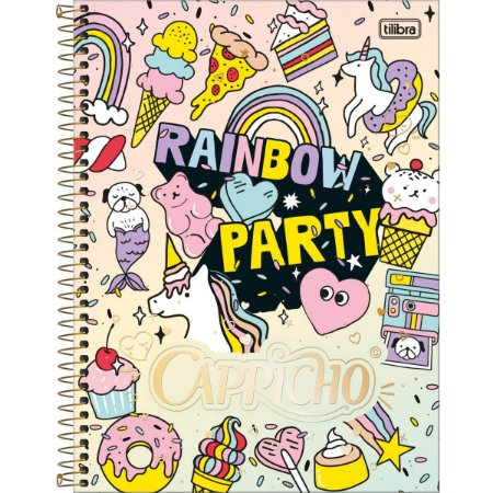 Caderno Universitário Tilibra Capricho Rainbow Party 10 materias