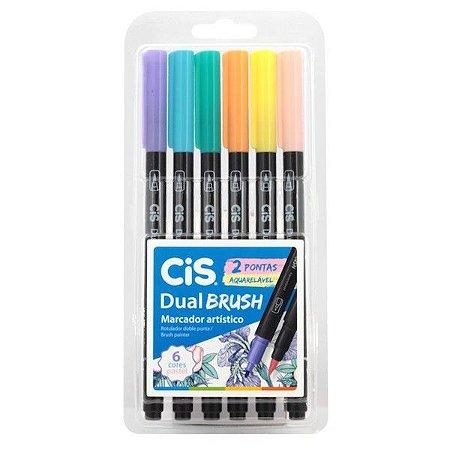 CIS Dual Brush Conjunto Canetas Ponta Pincel Tons Pastel 6 Cores