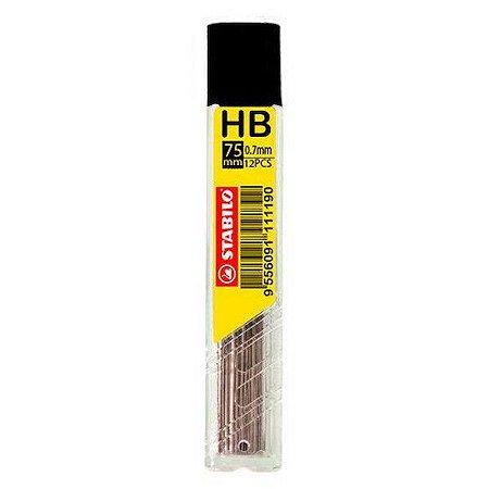 Tubo com 12 Minas de Grafite HB Stabilo para Lapiseira 0.5mm