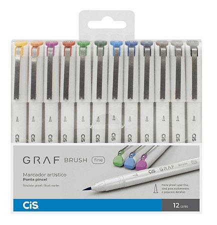 Caneta CIS Graf Brush Fine Conjunto 12 Cores