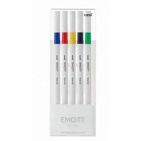 Conjunto de Canetas Uni Emott Ever Fine 0.4mm 5 Cores nº1
