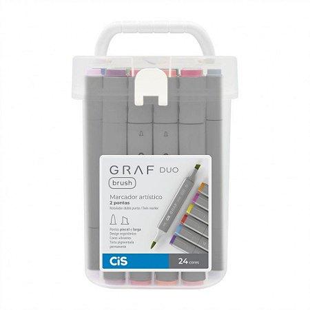 Caneta CIS Graf Duo Brush Conjunto 24 cores