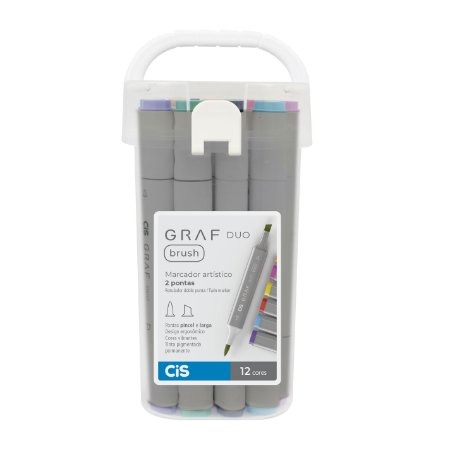 Caneta CIS Graf Duo Brush Conjunto 12 cores