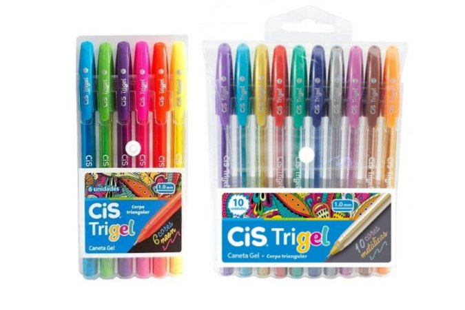 Caneta Gel CIS Trigel Conjunto 10 Cores Metálicas + 6 Cores Neon