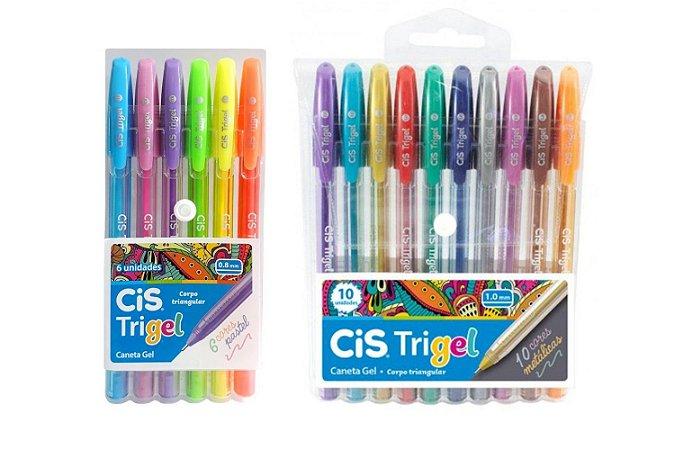 Caneta Gel CIS Trigel Conjunto 10 Cores Metálicas + 6 Cores Pastel