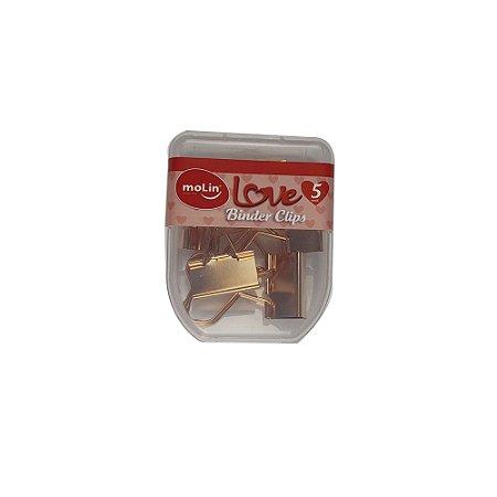 Clips de Papel Binder Coracao Ouro Rosa 25mm Kit c/5