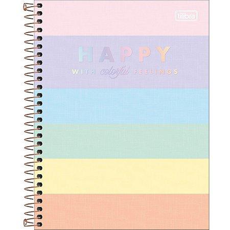 Caderno Tilibra Happy Colegial 1 Matéria Colors