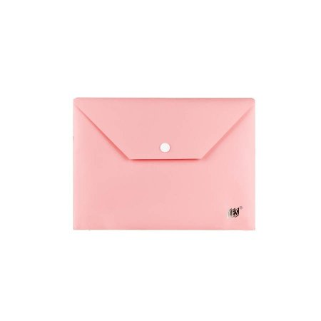 Pasta Envelope com Botao A5 Rosa Pastel Yes
