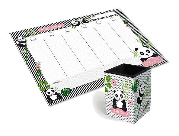 Kit Bloco Planner + Porta Canetas Panda Fina Ideia