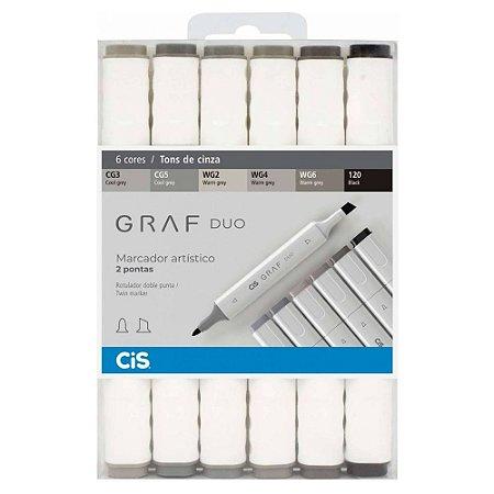 Caneta CIS Graf Duo Conjunto 6 Cores Tons de Cinza