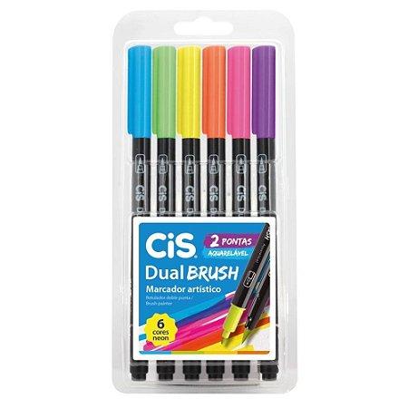 CIS Dual Brush Conjunto Canetas Ponta Pincel Neon 6 Cores