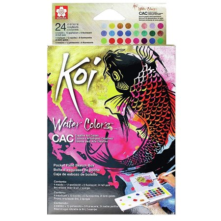 Tinta aquarela Koi Water Colors 24 Cores Metalicas, Perolizadas e Neon