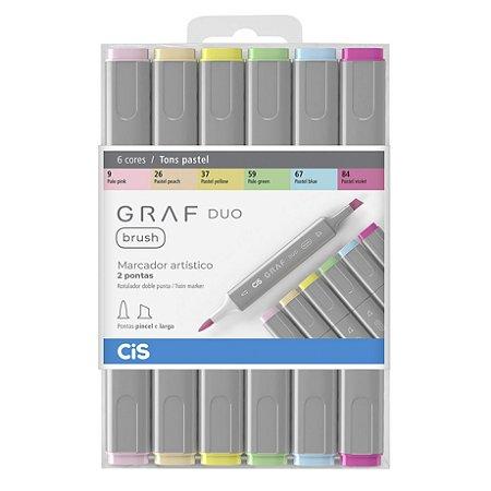 Caneta CIS Graf Duo Brush Conjunto 6 Cores Tons de Pele