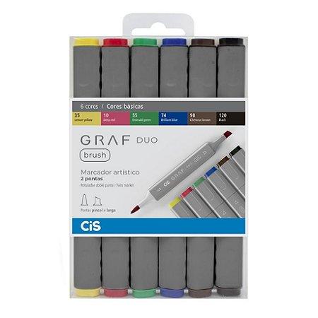 Caneta CIS Graf Duo Brush Conjunto 6 Cores Basicas