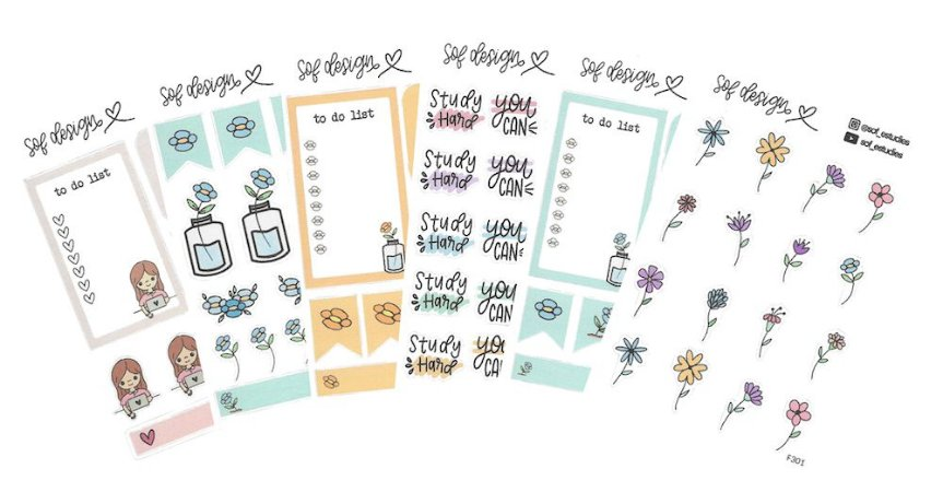 Kit com 6 Cartelas de Adesivos Decorados Sof Design - Kit 2