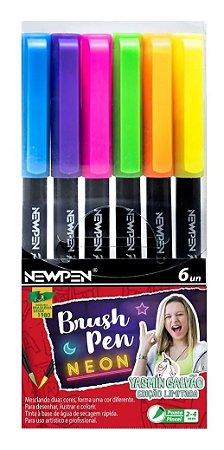 Brush Pen Newpen 6 Cores Neon Yasmin Galvão - Edição Limitada