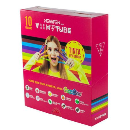 Caneta Esferográfica Newpen Clic Perfumada 10 Cores - Edição Limitada Viih Tube