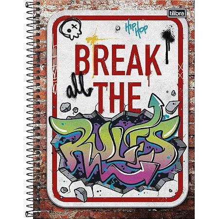 Caderno Tilibra Grafiti Universitario 1 Materia Break the Rules