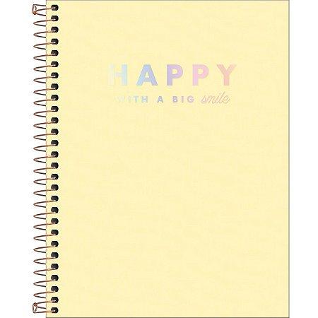 Caderno Tilibra Happy Colegial 1 Matéria Amarelo