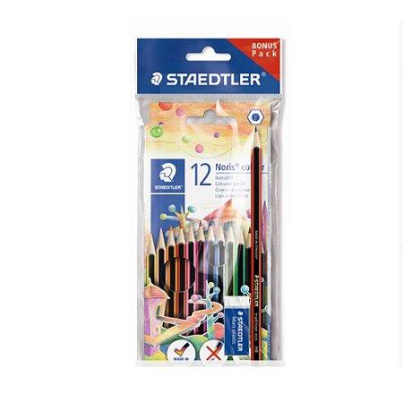 Lapis de Cor Staedtler Noris Colour 12 cores - Grátis Borracha + Lapis Preto HB