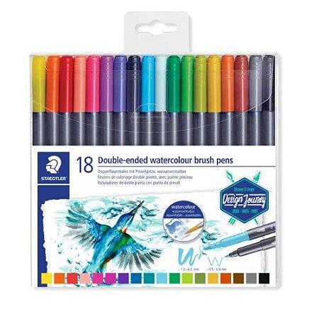 Brush Pen Ponta Dupla Aquarelavel Staedtler 18 Cores