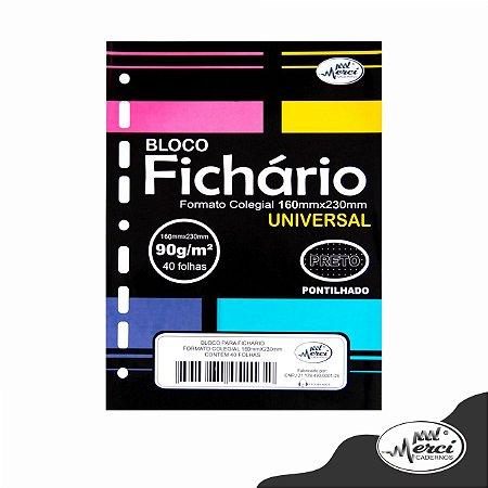 Folhas de Fichario 90g Pontilhadas Papel Preto Tamanho Colegial Merci