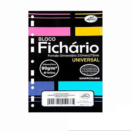Folhas de Fichario 90g Quadriculadas Papel Preto Tamanho Universitário Merci
