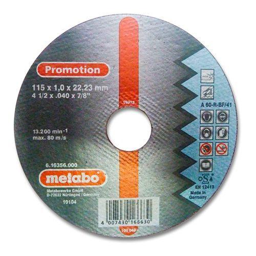 DISCO DE CORTE FINO A60-R BF/41 115X1,0X22,23-METABO PROMOTION-16356