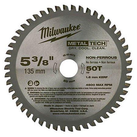 DISCO DE SERRA CIRCULAR DE METAL DE 135 MM X 20 MM X 50 DENTES MILWAUKEE-48-40-4075