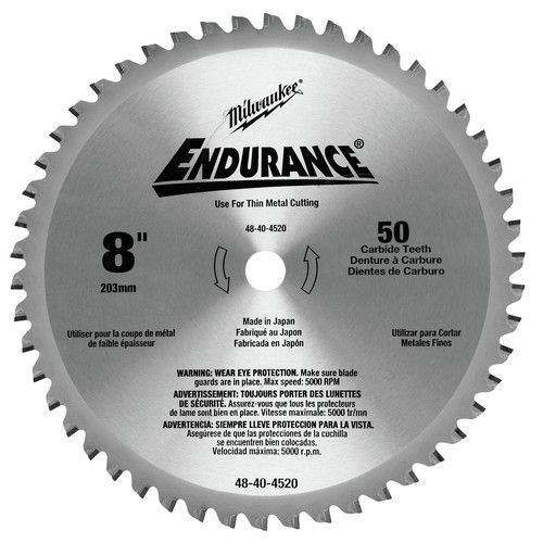"DISCO DE SERRA CIRCULAR DE METAIS FINOS 8"" 203MM 50 DENTES MILWAUKEE-48-40-4520"