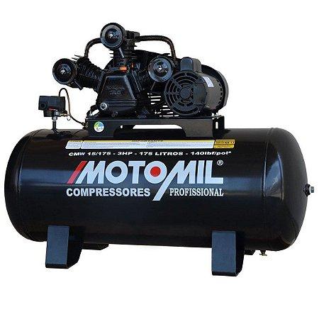 COMPRESSOR DE AR 15 PÉS 100 LBF/6.9 BAR 3HP 175L MONO 110/220V-MOTOMIL-CMW-15-175