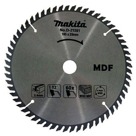 DISCO SERRA CIRCULAR WIDEA TCT 185X20X60 P/ MDF MAKITA-D-21381
