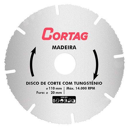 Disco de Corte Tungstênio Cortag  110mm para Madeira 61346