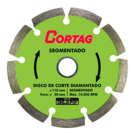 Disco Diamantado Segmentado Cortag 110mm Furo 20mm 60973