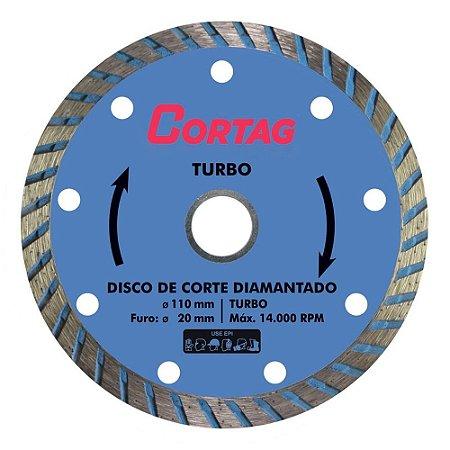 Disco de Corte Diamantado Cortag Turbo 110mm Furo 20mm 60599