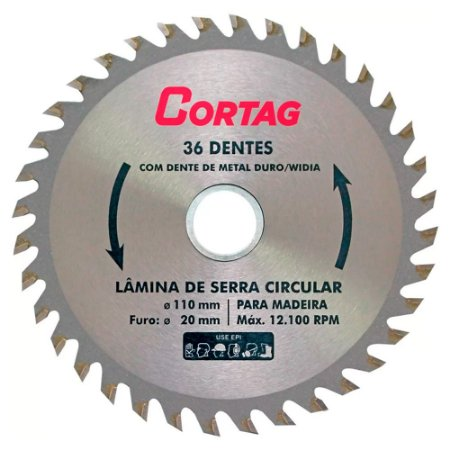 Disco Serra Circular Cortag 36 Dentes 110mm 20mm 60879