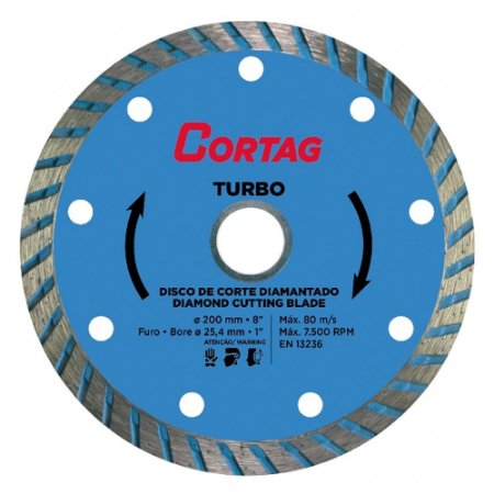 Disco Corte Diamantado Cortag Turbo 200mm Furo 25,4mm 61615