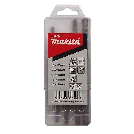 Jogo com 5 Brocas para Concreto 4 a 10mm D-36762 Makita