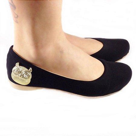 Sapatilha Likka Calçados preta  / lateral coruja dourada 024
