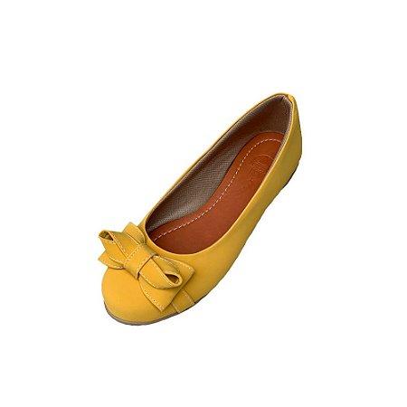 Sapatilha Likka Calçados Amarela com Laço - Varejo REF. 013