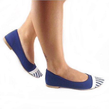 Sapatilha Likka Calçados Azul Royal  Bico Fino Listrado - Varejo REF. 006