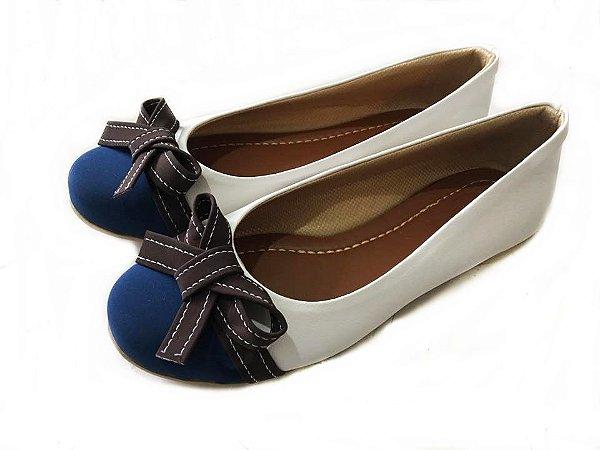 Sapatilha Likka Calçados Branca Bico Azul Laço Marrom - Varejo 052