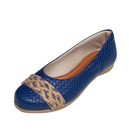 Sapatilha Likka Calçados  Bico Redondo Azul  - Varejo