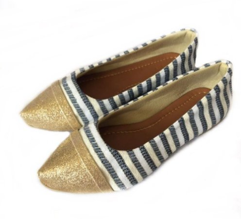 Sapatilha Likka Calçados Listrada e Dourada - Varejo 007
