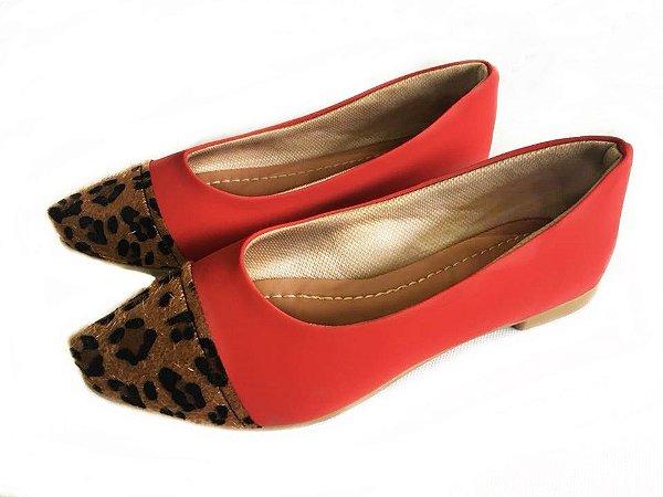 Sapatilha Likka Calçados Vermelha Bico Animal Print - Varejo REF. 062